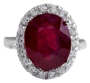 Other 9.65 Carats Natural Red Ruby and Diamond 14K Solid White Gold Ring