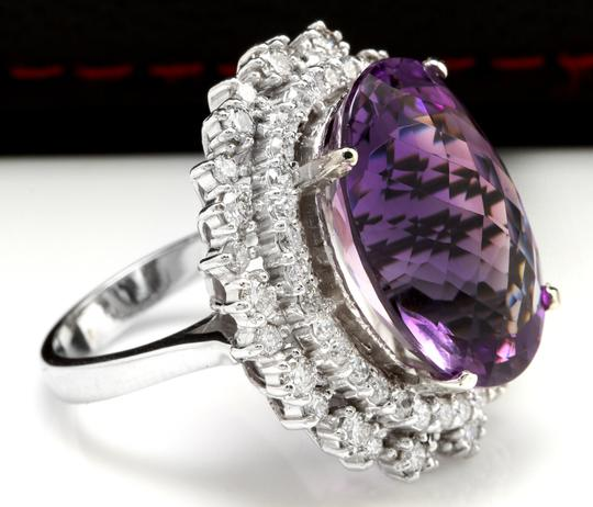 Other 17.52 Carats Natural Amethyst and Diamond 14K White Gold Ring