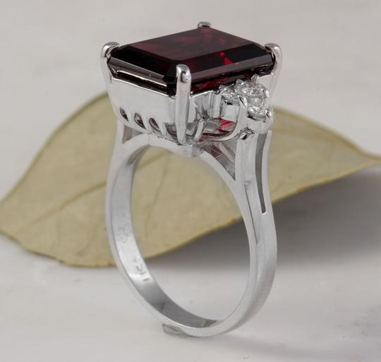 Other 9.25 Carats Natural Red Garnet & Diamond 14K Solid White Gold Ring