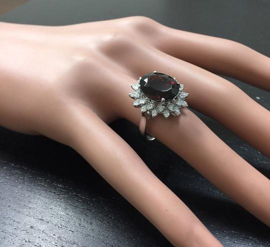 Other 8.80 Carats Natural Red Garnet & Diamond 14K Solid White Gold Ring