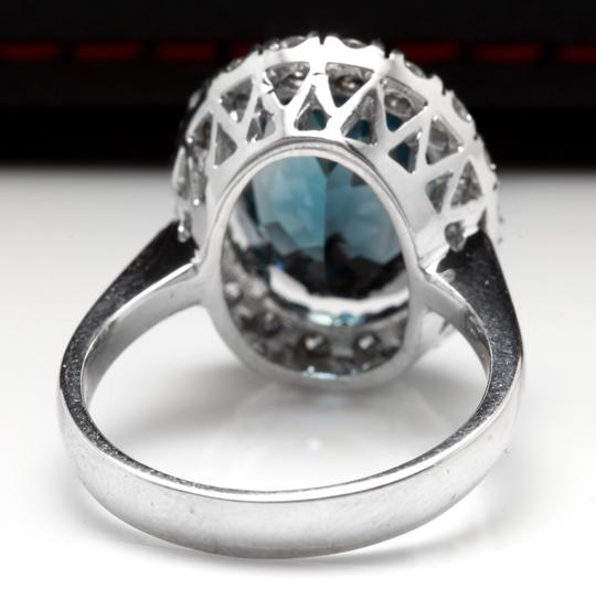 Other 9.90 Carats Natural LONDON BLUE TOPAZ and Diamond 14K White Gold Ring