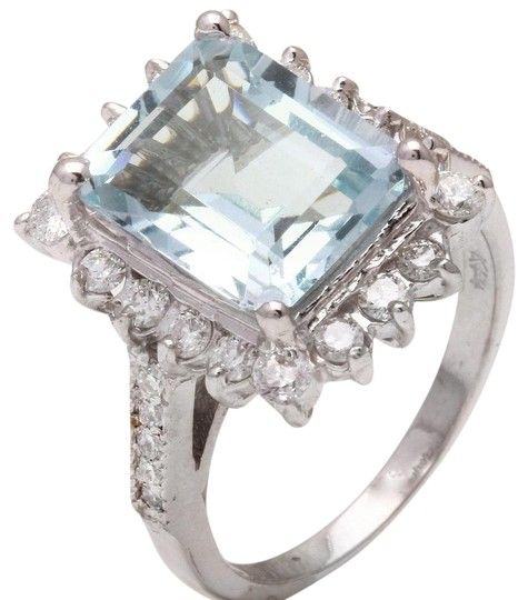 Other 9.20 Carats NATURAL AQUAMARINE and DIAMOND 14K White Gold Ring