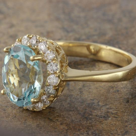 Other 2.75Ct Natural Aquamarine and Diamond 14K Yellow Gold Ring