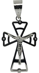 Other 18K White Gold Cross with Jesus Pendant
