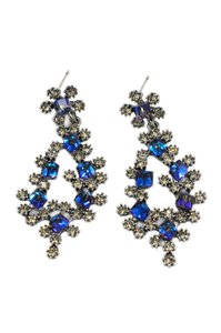 Ocean Fashion Sparkling blue crystal silver earrings