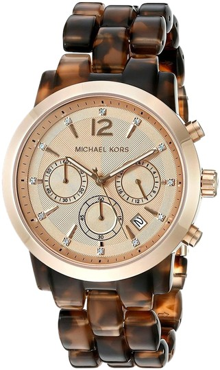 Preload https://img-static.tradesy.com/item/22211435/michael-kors-rose-gold-and-tortoise-new-audrina-acetate-chrono-watch-0-1-540-540.jpg