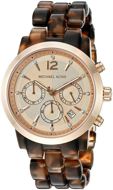 Item - Rose Gold and Tortoise New Audrina Acetate Chrono Watch