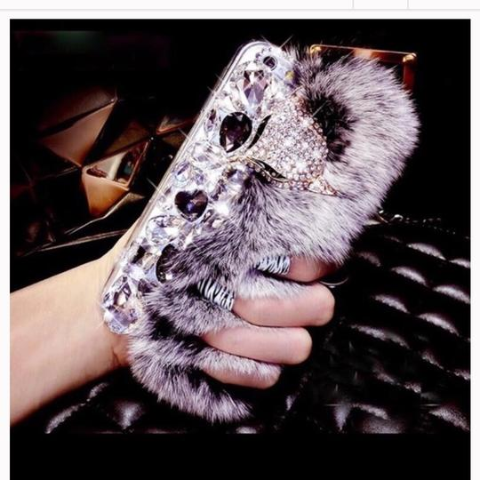 Queen Esther Etc Luxury Bling Warm Soft Faux Rabbit Fur Hair phone cases for iphone