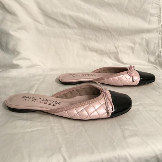 Paul Mayer Flat Quilted Patent Leather Leather Designer Pink Black Mules