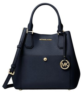 Michael Kors Greenwich Medium Saffiano White Leather 889154025547 30f7mgrt3m Satchel in admiral blue Black