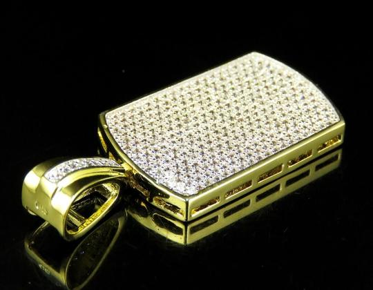 Jewelry Unlimited Yellow Gold Finish Over Brass Simulated Diamond Dog Tag Pendant Charm