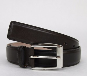 Gucci Dark Brown Leather Belt with Classic Square Buckle 80/32 336831 2140 Groomsman Gift