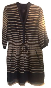 Adrianna Papell short dress Black and Beige Stripe on Tradesy