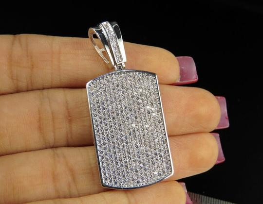 Jewelry Unlimited White Gold Finish Over Brass Simulated Diamond Dog Tag Pendant Charm