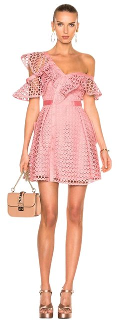 Preload https://img-static.tradesy.com/item/22212524/pink-zari-lace-ruffled-one-shoulder-short-casual-dress-size-0-xs-0-1-650-650.jpg