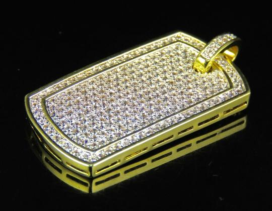 Jewelry Unlimited Yellow Gold Finish Lab Diamond Bodered Dog Tag Pendant 1.5