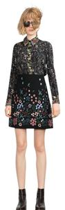 Zara Floral Embroidered Boho Winter Hippie Mini Skirt Black floral