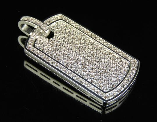 Jewelry Unlimited White Gold Finish Lab Diamond Bodered Dog Tag Pendant 1.5