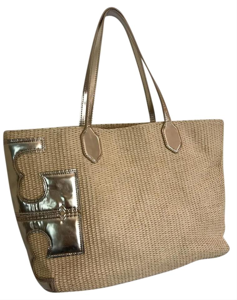 e12d0ce139b7 Tory Burch T Stacked-t Natural   Gold Straw Tote - Tradesy