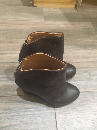 True Religion Leather Wedge Laced Detail Ankle Rustic Look Black Boots