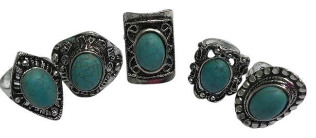 Item - Silver/Turquoise Ladies 5pcs Bohemian Gypsy Ring