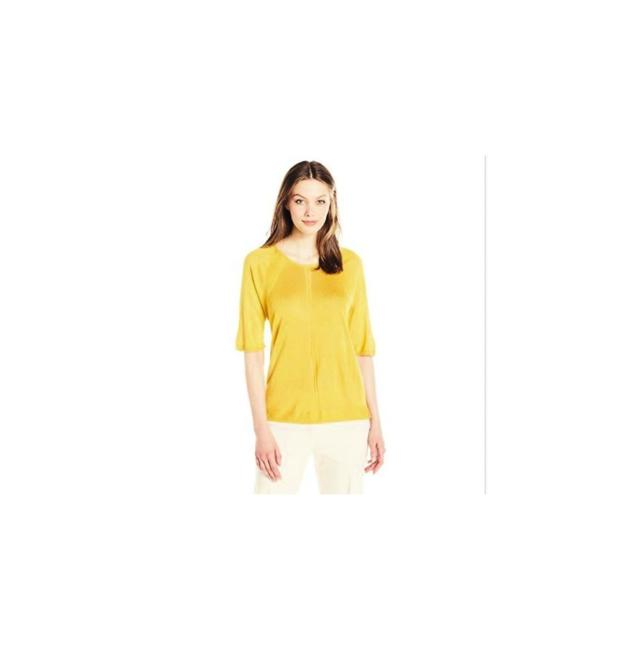 Preload https://img-static.tradesy.com/item/22212993/anne-klein-goldenrod-women-s-short-sleeve-rounded-neck-sweater-blouse-size-16-xl-plus-0x-0-0-650-650.jpg