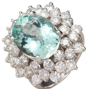 Other 9.14 Carats NATURAL AQUAMARINE and DIAMOND 14K White Gold Ring