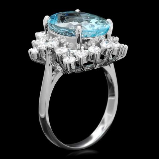 Other 8.35 Carats NATURAL AQUAMARINE and DIAMOND 14K White Gold Ring