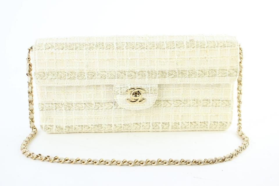 f6bad256ec6efa Chanel East West [ebay Sold] Quilted Woven Flap 221885 Cream Tweed ...