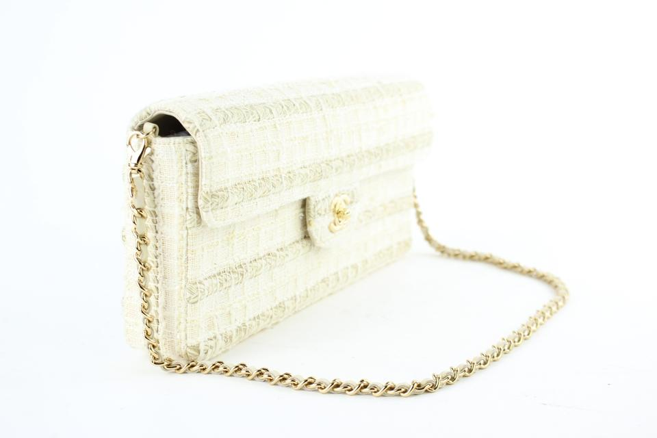 870b21620545 Chanel East West  ebay Sold  Quilted Woven Flap 221885 Cream Tweed Shoulder  Bag - Tradesy