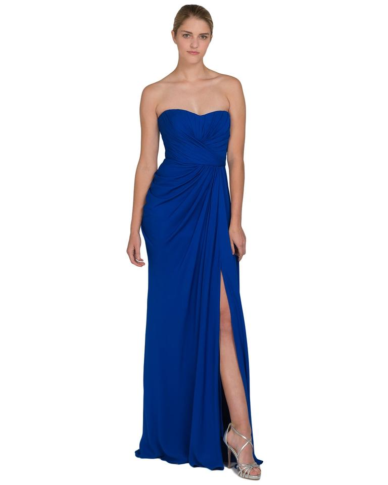 Badgley Mischka Blue Sweetheart A-line Long Formal Dress Size 8 (M ...