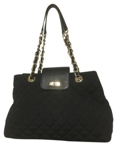 Talbots Gold Hardware Quilted Microfiber Satchel in Black