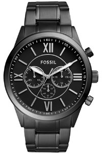 Fossil BQ1127IE Flynn Men's Black Steel Band With Black Analog Dial Watch