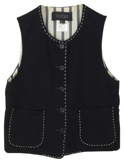Item - Blue Navy Wool Whipstitch Sleeveless Button Front Vest Size 4 (S)