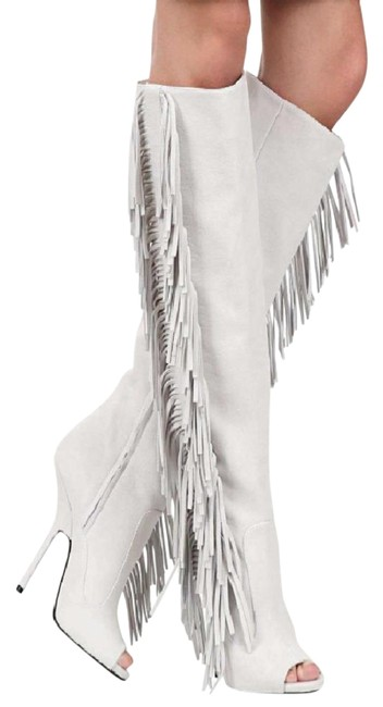 Item - White Suede Peep Toe Fringe Boots/Booties Size EU 37 (Approx. US 7) Regular (M, B)