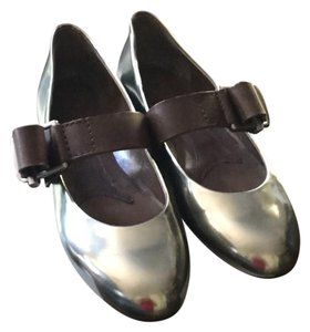 Marni Leather Patent Leather Buckle Silver Flats