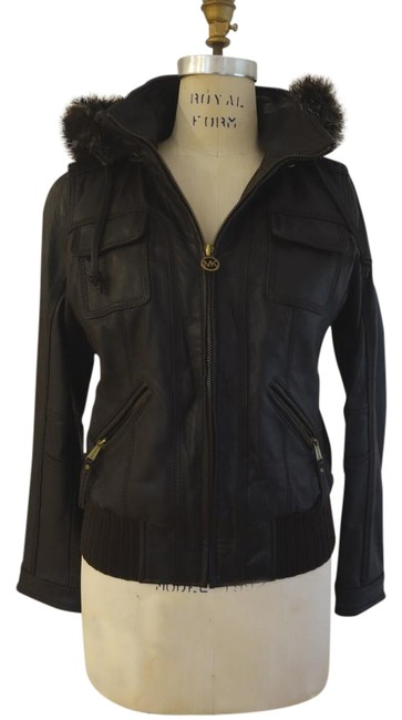 Item - Brown XS Hooded Leather Bomber Jacket Size 2 (XS)