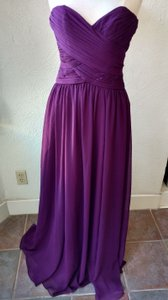Mori Lee Eggplant Crinkle Chiffon Style # 20411 Formal Bridesmaid/Mob Dress Size 2 (XS)