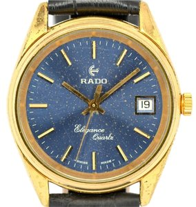 Rado Elegance Vintage Gold Plated Blue Face Leather Watch