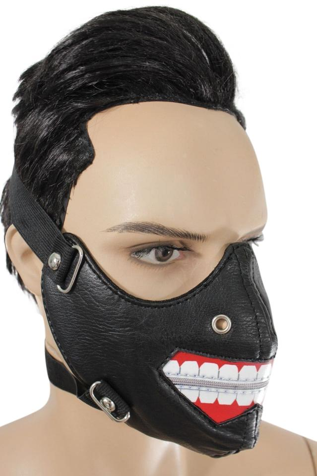 Black New Men Face Mask Open Zipper Mouth Muzzle Costume Halloween Su0026m Hair  Accessory