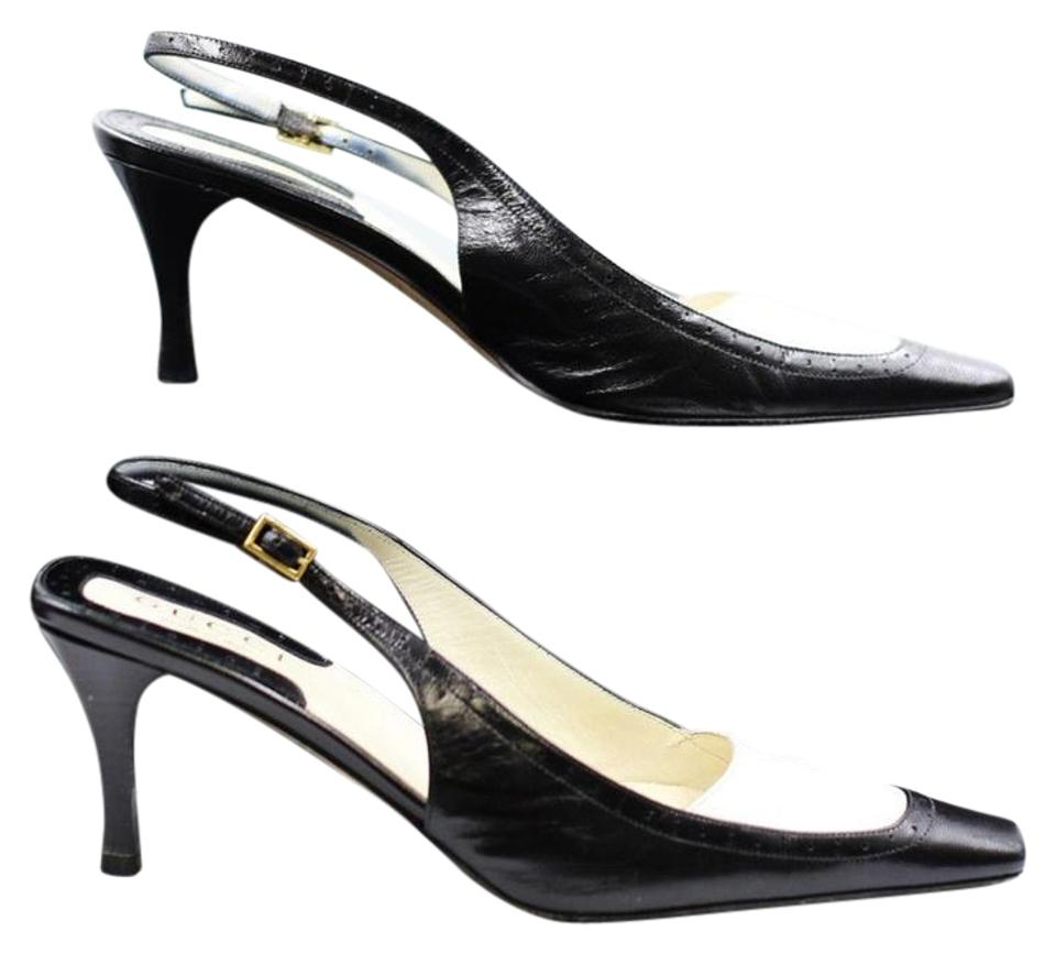 Gucci Black White Mirabelle Slingbacks Heels Two Tone 37 Leather Formal  Shoes