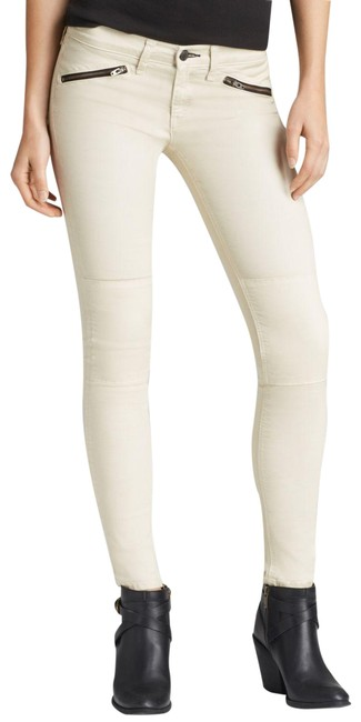 Item - Beige Light Wash Moto Zip Ridley Midrise Pants Skinny Jeans Size 24 (0, XS)