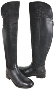 Tory Burch Black Grain Leather Boots