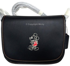 Coach Patricia Disney Mickey Leather Saddle Cross Body Bag