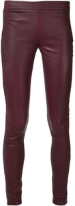 Tess Giberson Leather Leather Leggins Leather Skinny Pants Burgundy Red