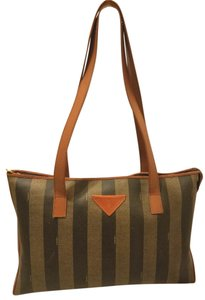 Fendi Refurbished Extra-large Lined Tote in Black, Olice and Cognac
