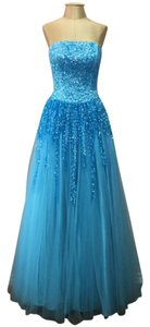 Nina Canacci Mesh Sequin Ball Gown Prom Strapless Dress