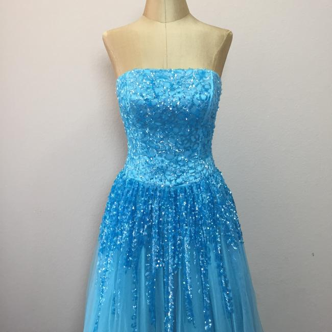 Nina Canacci Mesh Sequin Ball Gown Prom Strapless Dress Image 1
