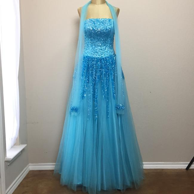 Nina Canacci Mesh Sequin Ball Gown Prom Strapless Dress Image 2