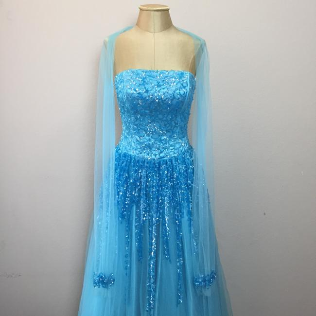 Nina Canacci Mesh Sequin Ball Gown Prom Strapless Dress Image 3